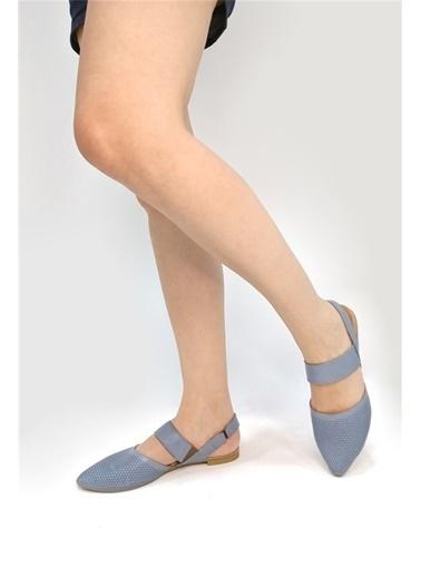 Ballerins El Yapımı Hakiki Deri Mavi Kadın Babet Blrs-1903 Mavi